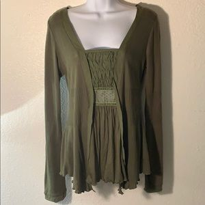 Anthropologie Tiny Olive Green Boho Blouse sz M